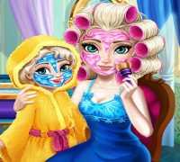 Anne Elsa Frozen Gerçek Makyaj Oyna