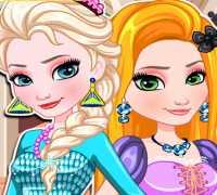 Elsa Ve Rapunzel  Okul Hazırlığı Oyna